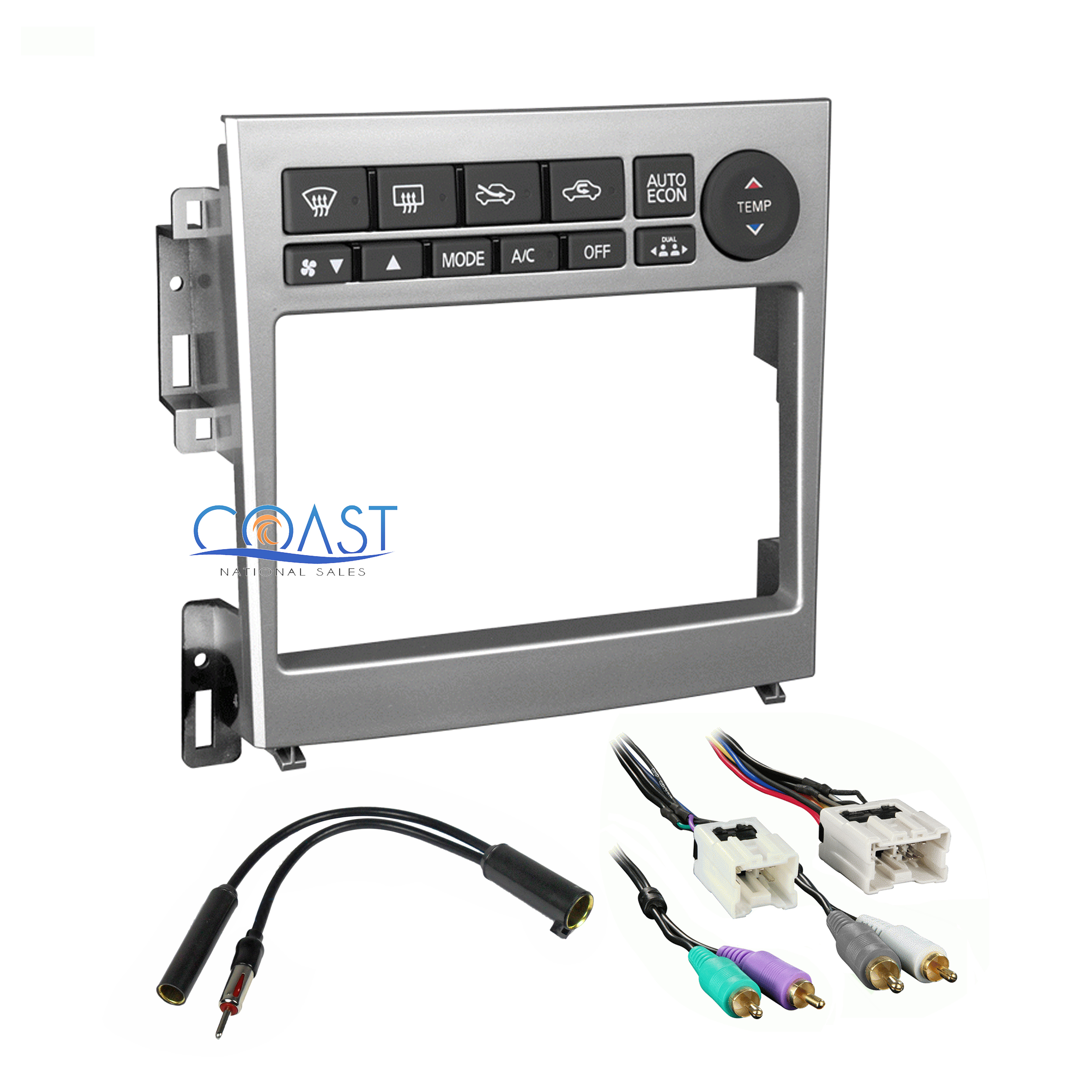 Double din stereo aluminum dash kit harness antenna for