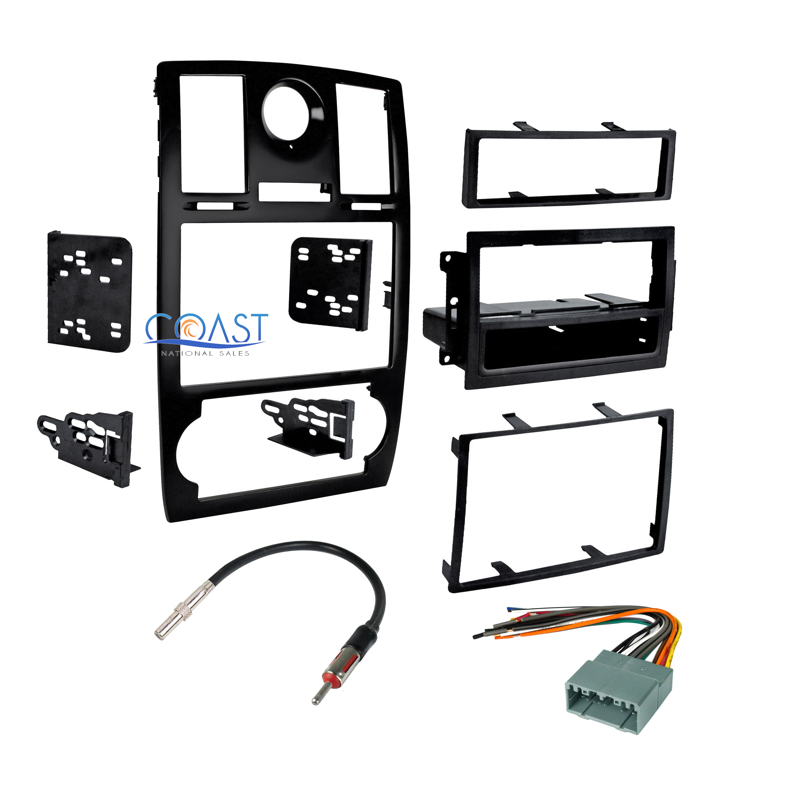 Car Stereo Double Din Dash Kit Harness Antenna Combo For