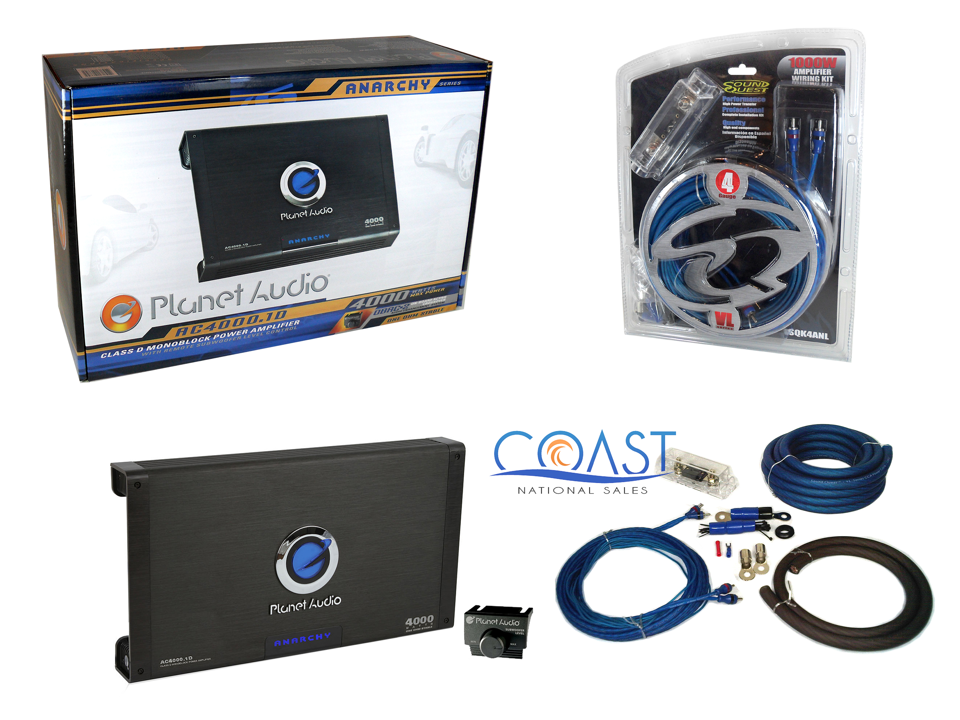 planet audio ac4000 1d amplifier soundquest sqk4anl wiring kit package ebay