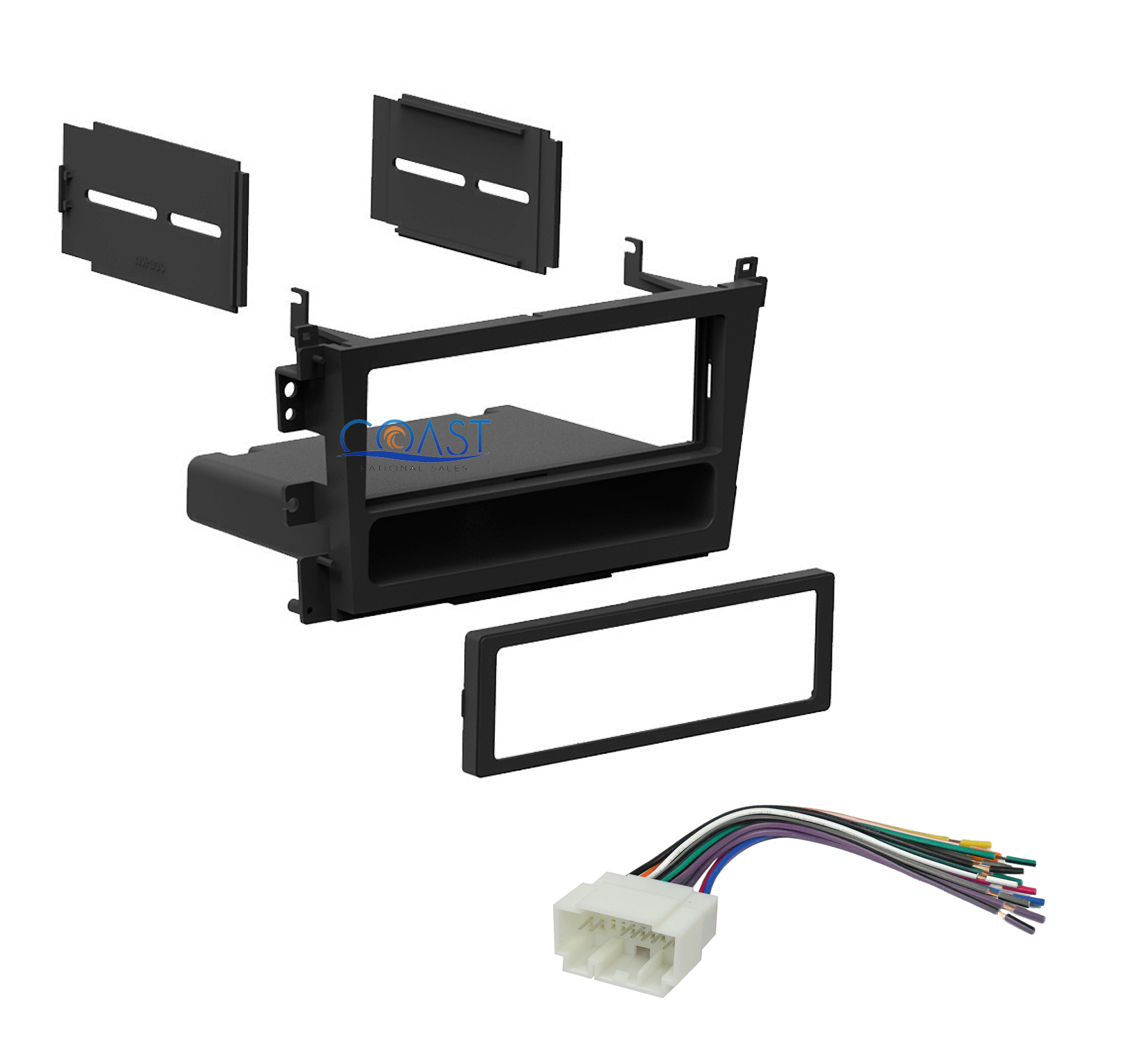 Car Radio Single DIN Stereo Dash Kit + Wiring Harness For