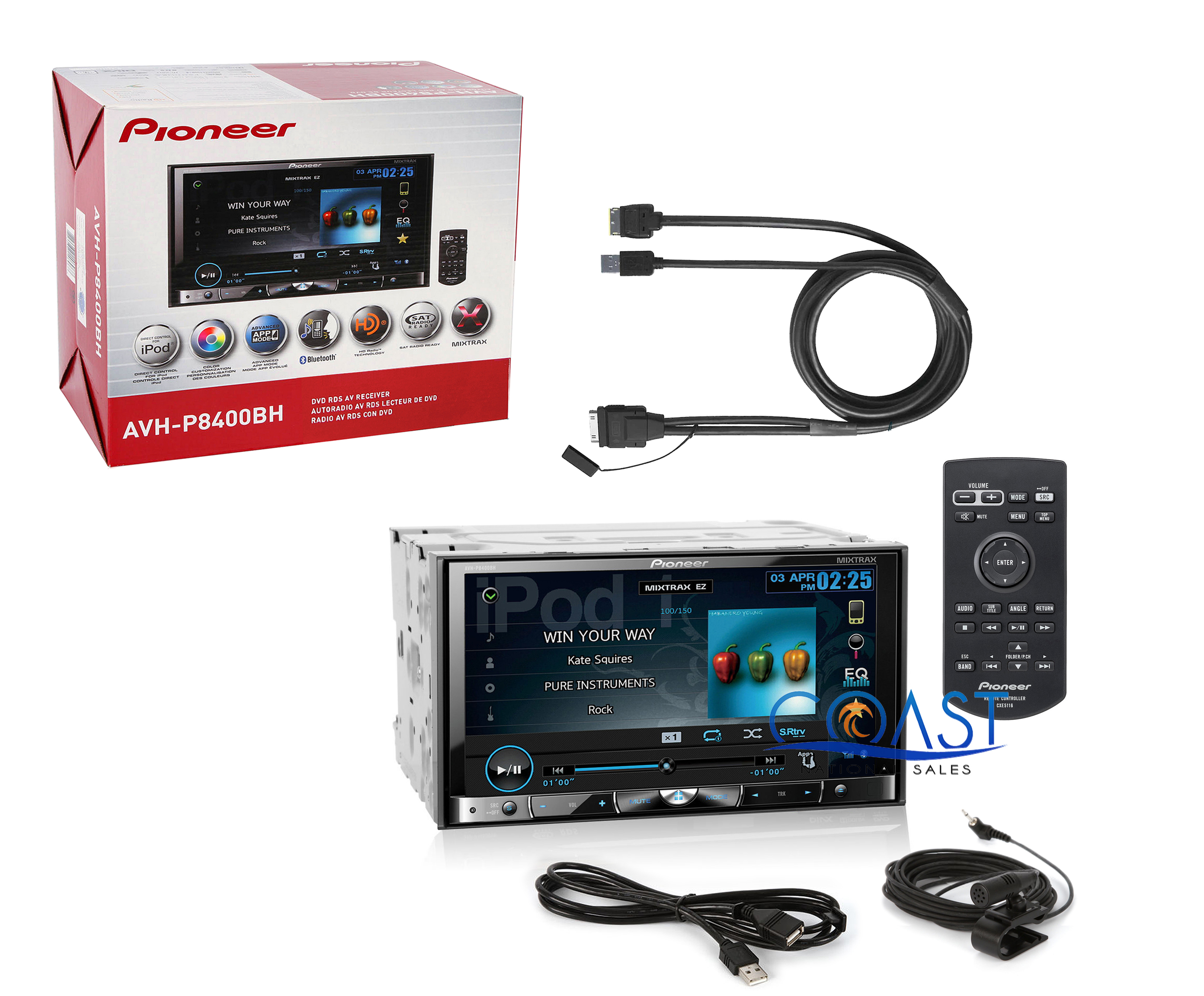 similiar pioneer receiver control cable keywords pioneer avh p8400bh 7 touchscreen dvd receiver cd iu201s usb to ipod