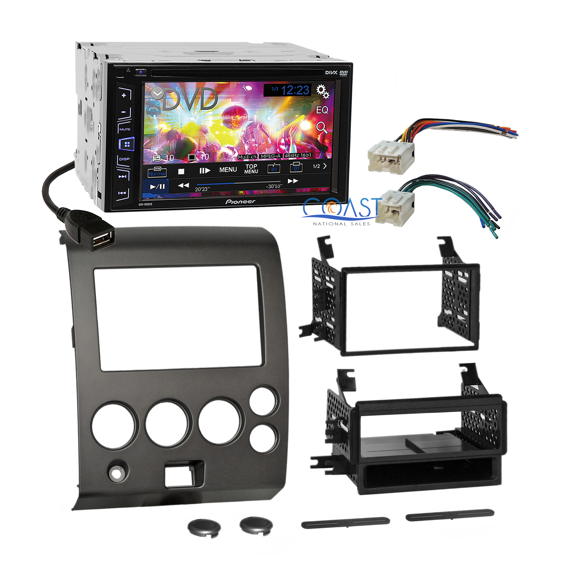 Pioneer Dvd Touchscreen Car Stereo Dash Kit Harness For 04