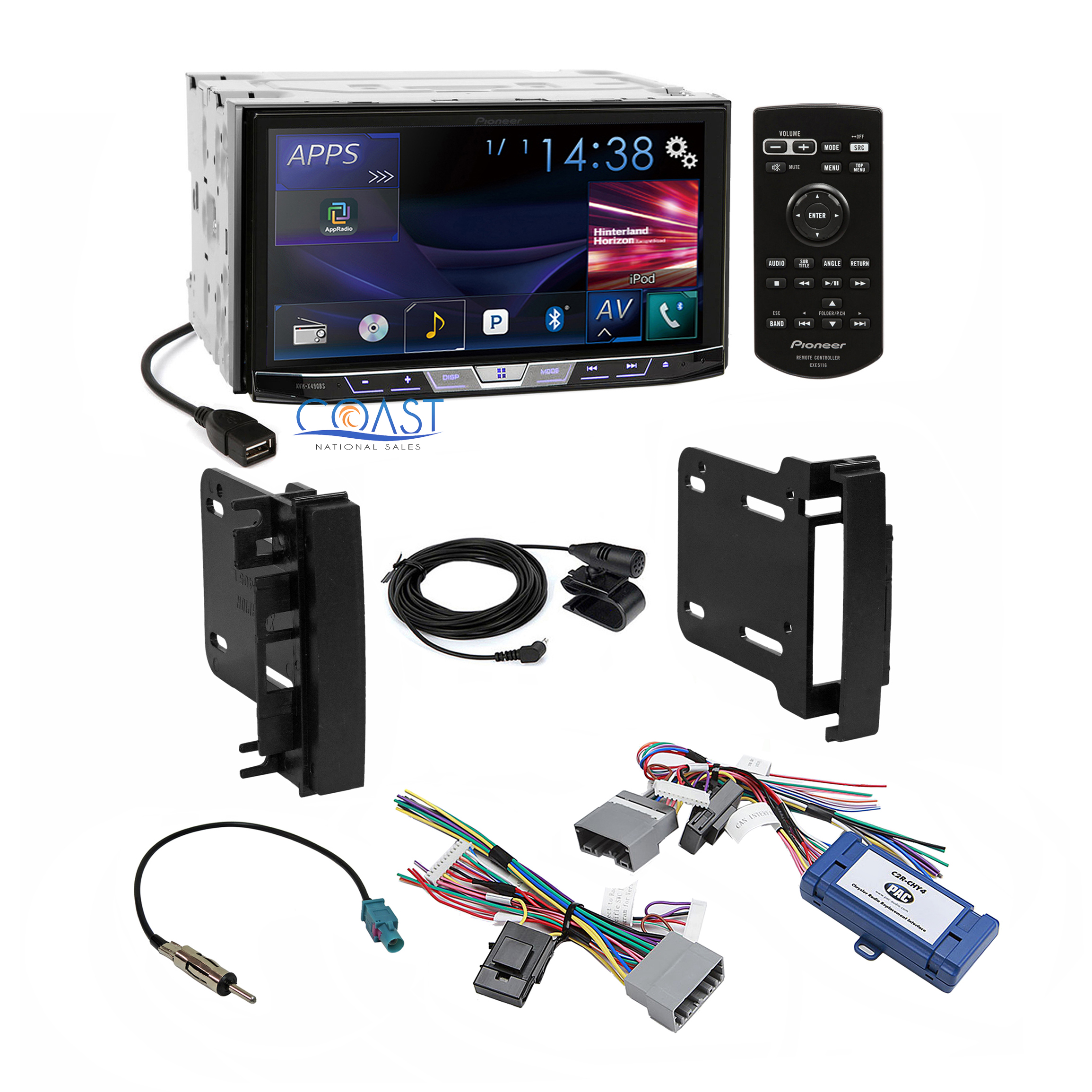 pioneer 2017 dvd car stereo dash kit wire harness for 07 up chrysler dodge jeep