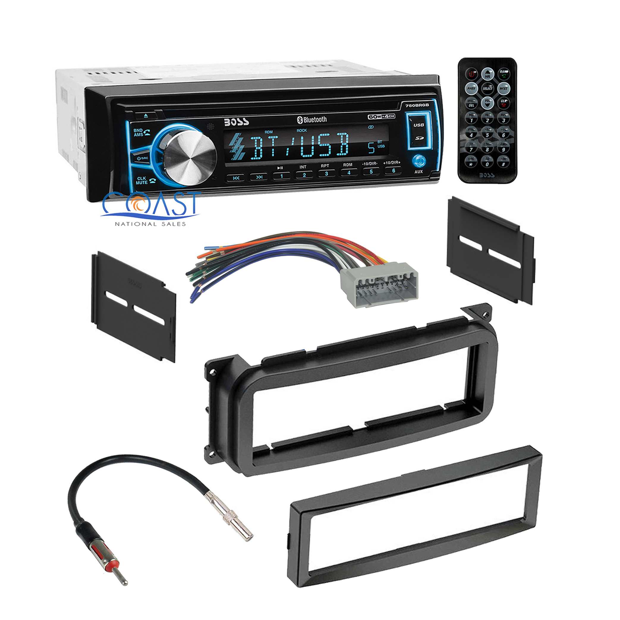 boss bluetooth car radio stereo dash kit harness for 2002
