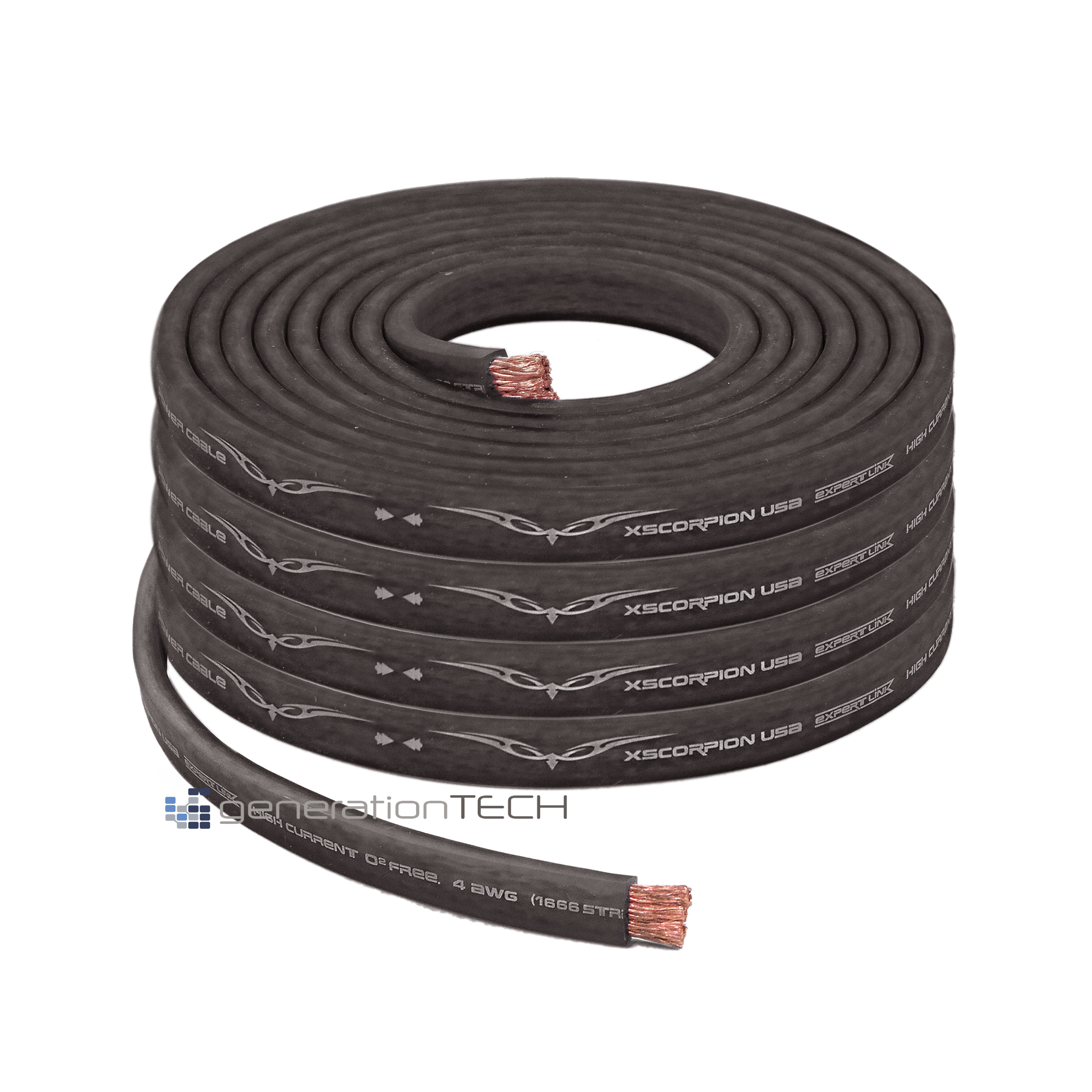 Flat Power Wire 8mm: OFC Copper 1666 Strand Count 4 Gauge Black Flat Power