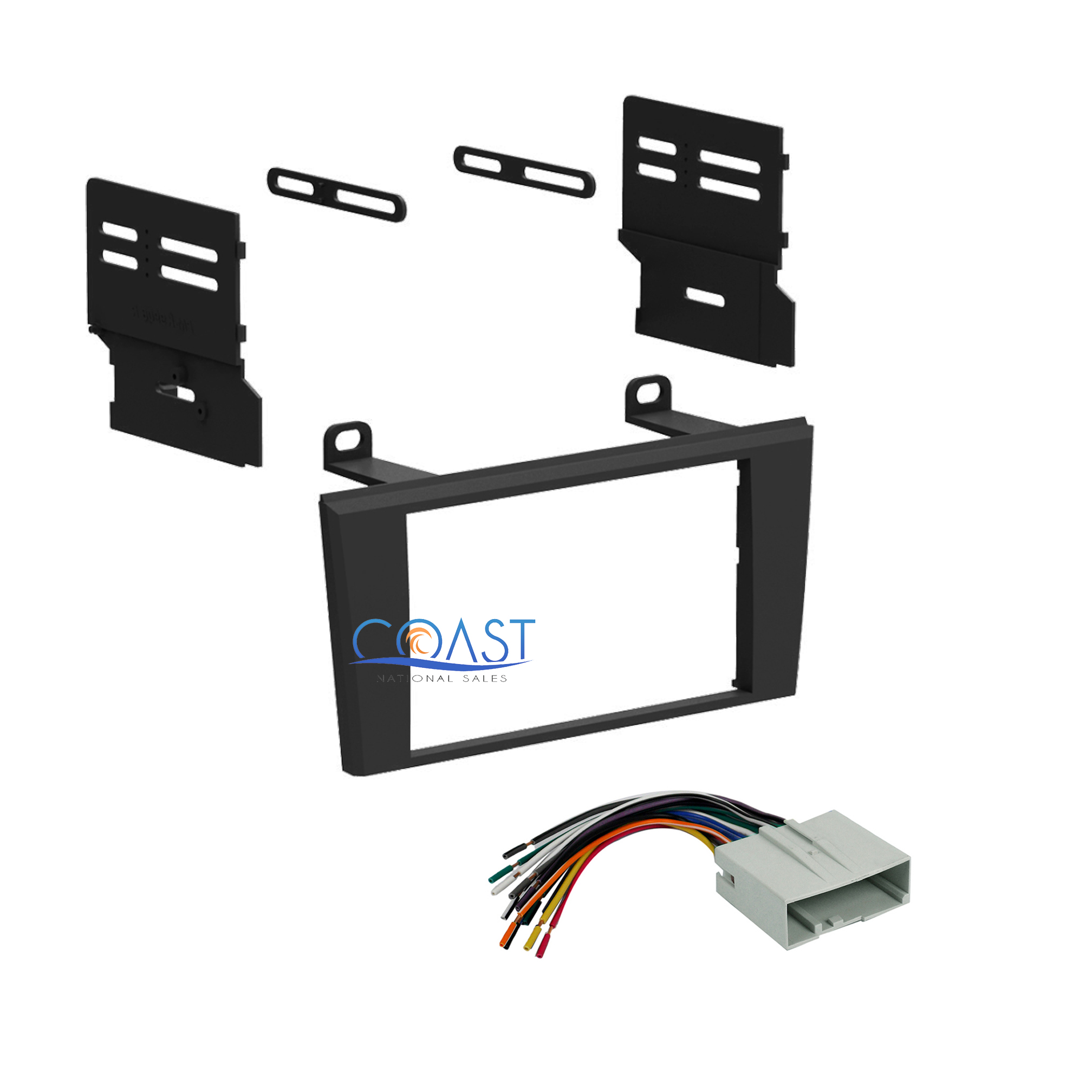Double din car radio stereo dash kit harness for