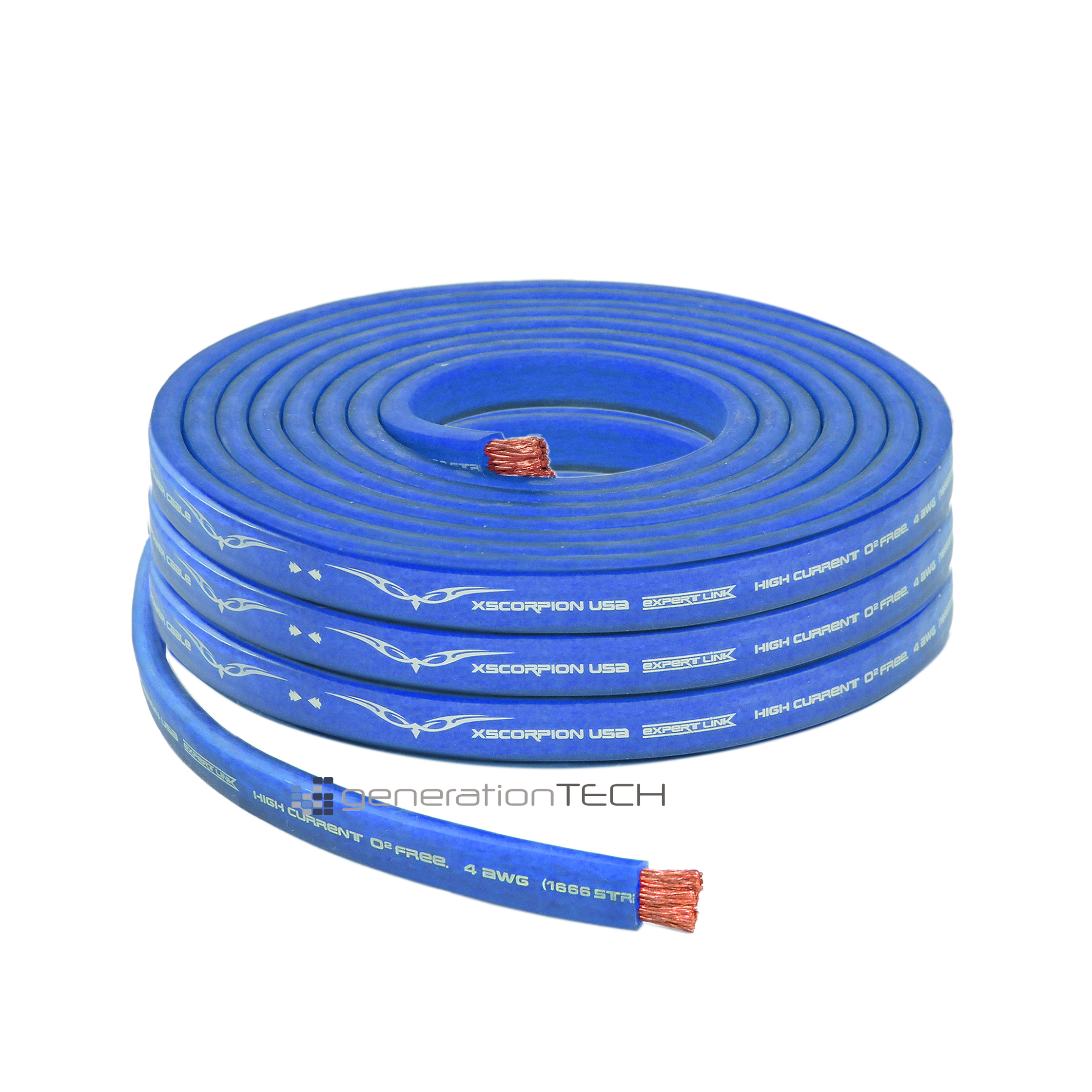 Flat Power Wire 8mm: OFC Copper 1666 Strand Count 4 Gauge Blue Flat Power