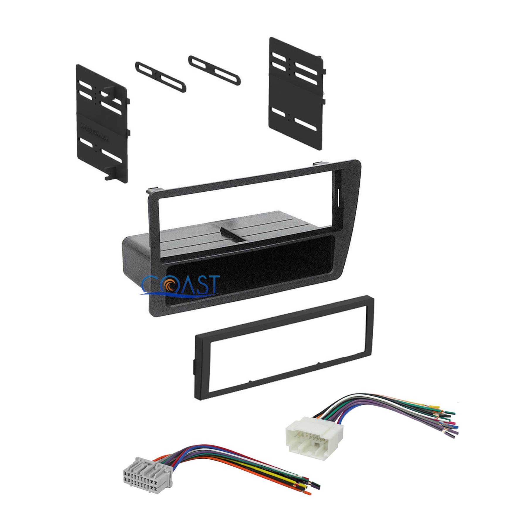 Single din car radio stereo dash kit harness combo for