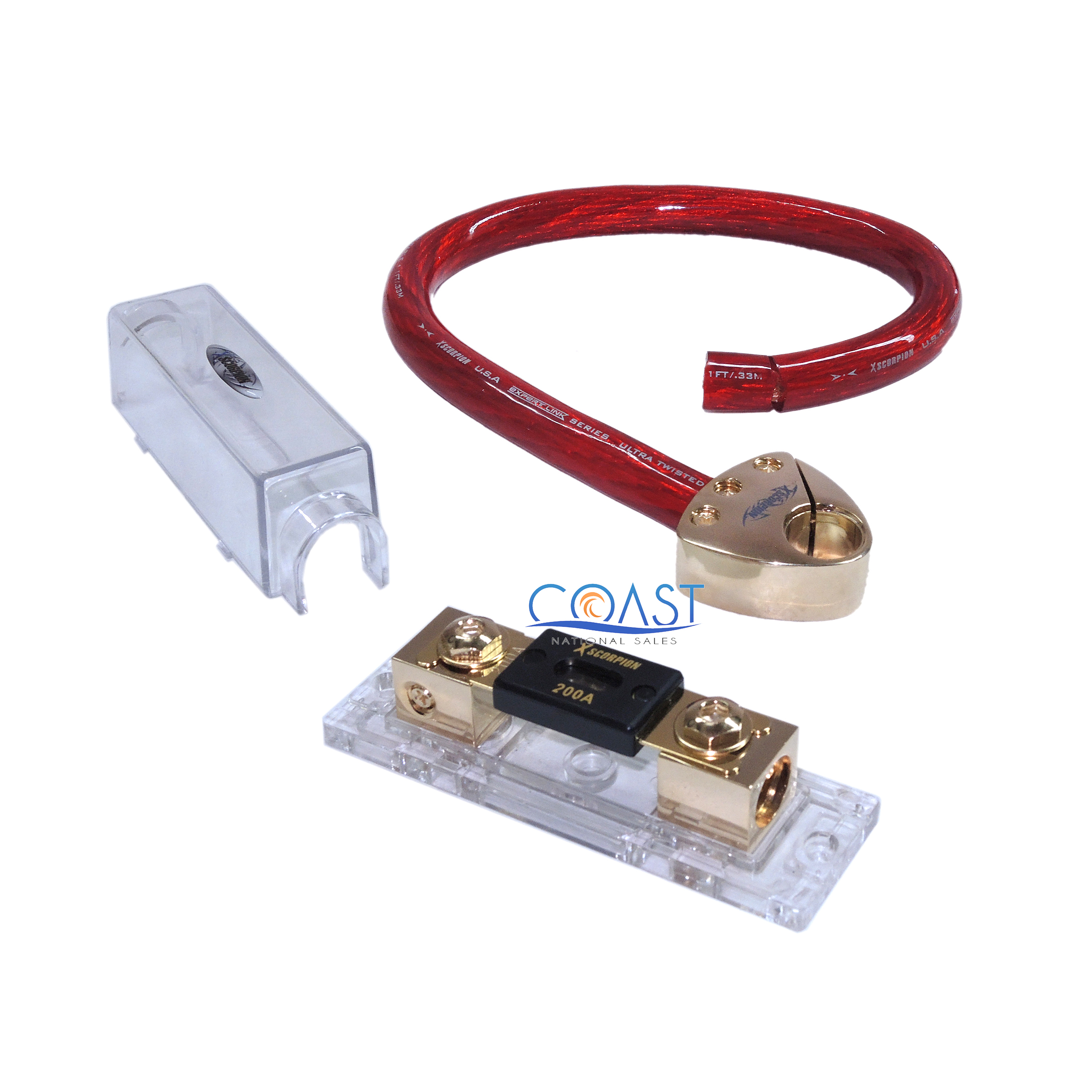 Car Anl In 0 Awg 1 5 Ft Ofc Red Cable Fuse  U0026 Battery Post Kit