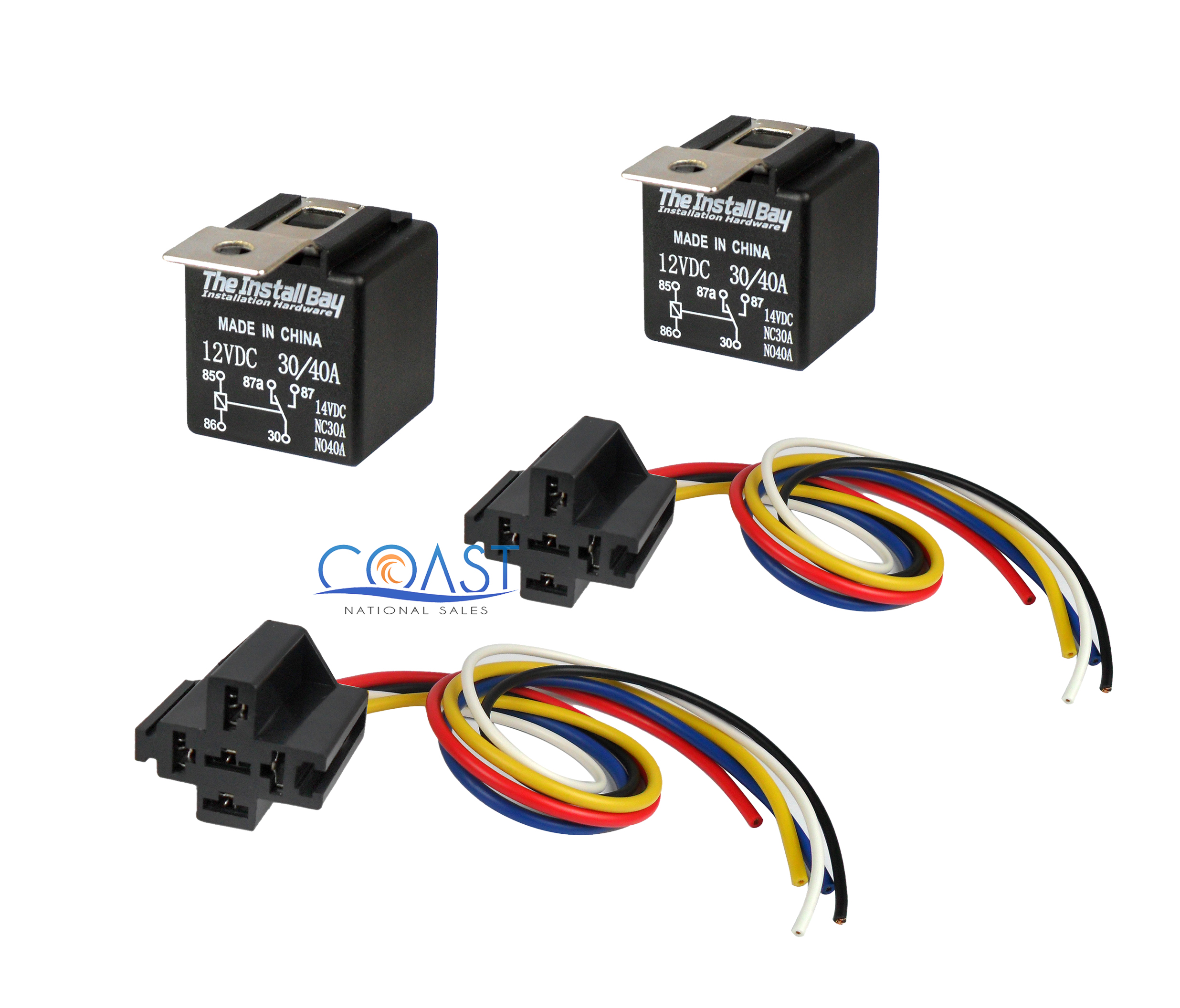 2x Car Audio Bosche Style Relay With Wire Harness Sockets