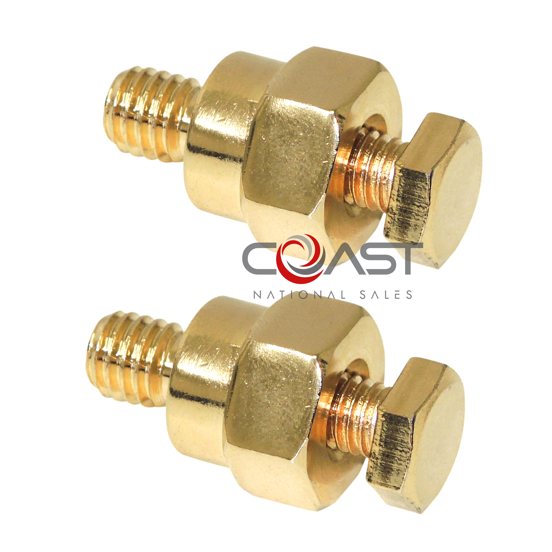 Gold GM Side Post Battery Terminal W// Amp Stud New Add Power Wire Adapter