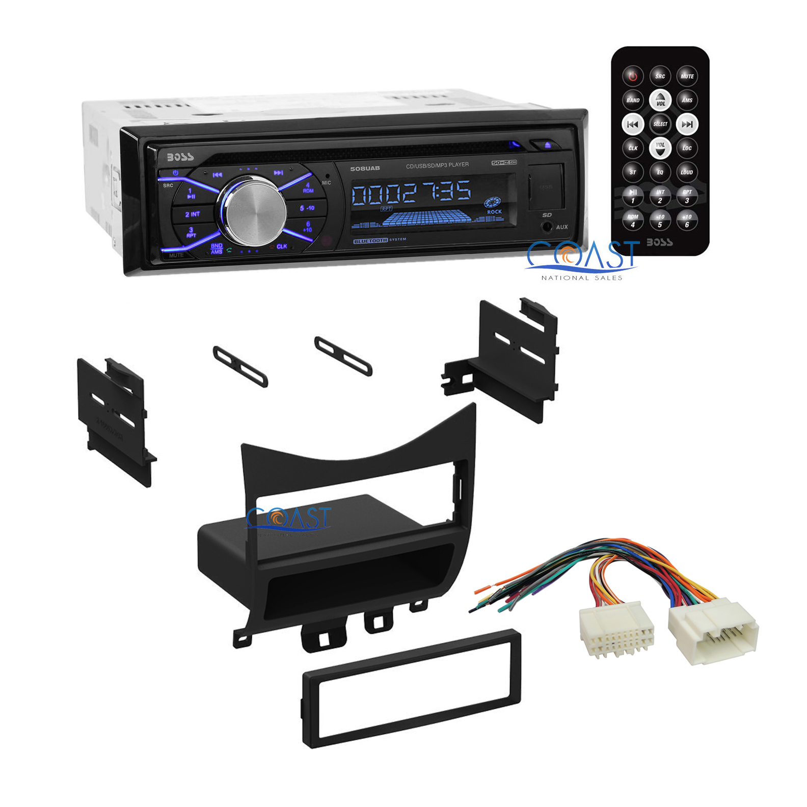 Boss Car Radio Stereo Bluetooth Dash Kit Wire Harness For