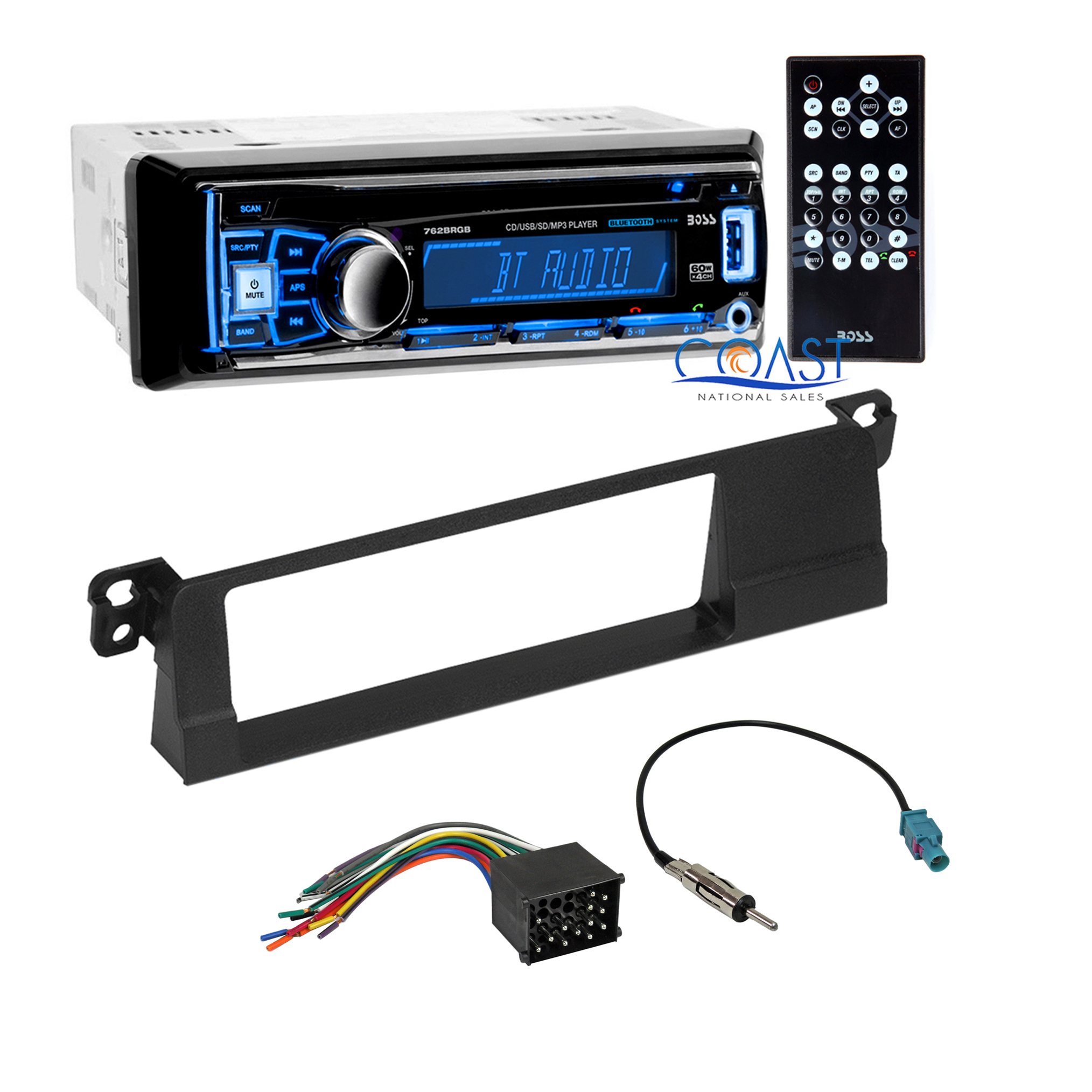 Boss Car Stereo Single Din Bluetooth Dash Kit Harness For 02