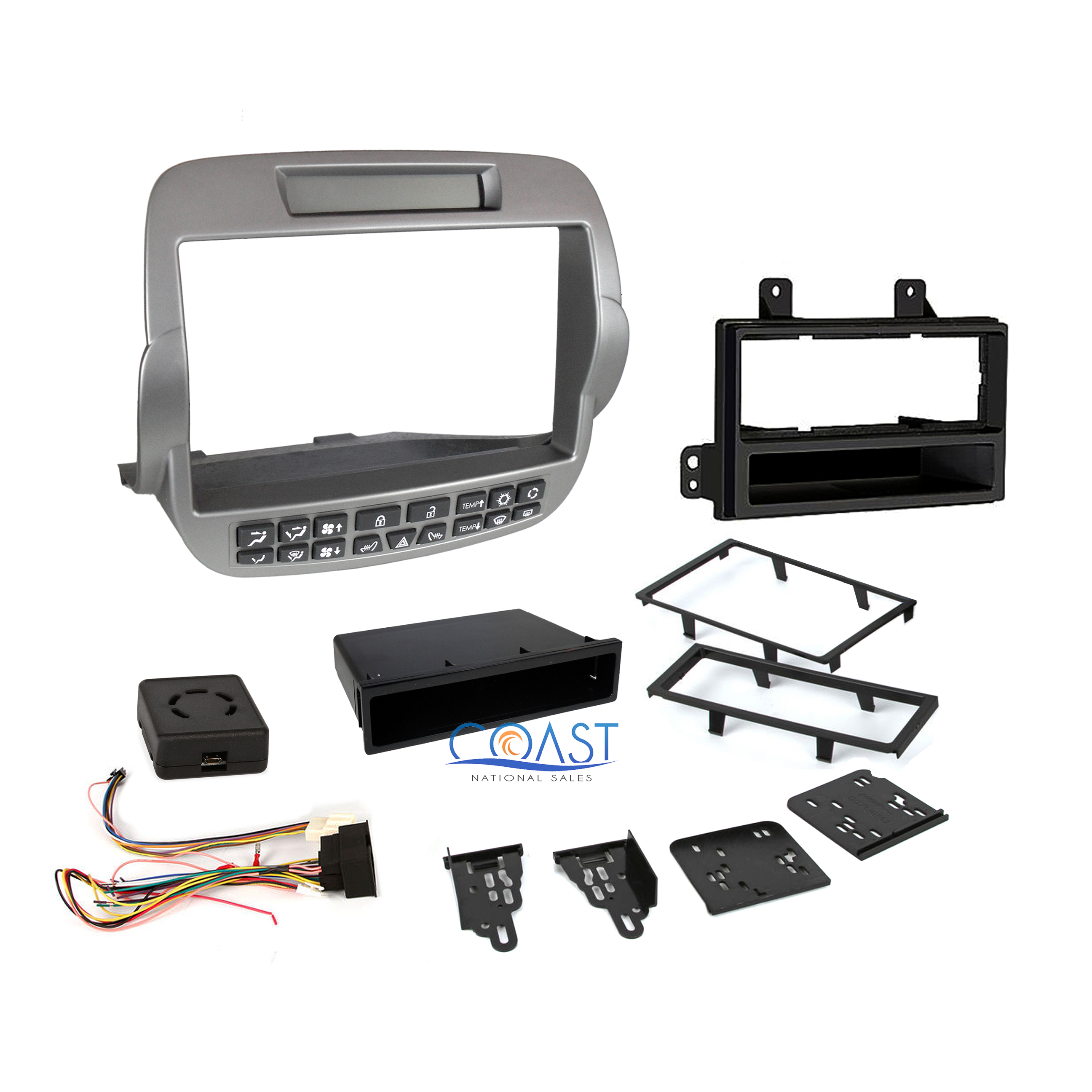 Silver Metra 99-3010S-LC Double//Single DIN Installation Kit for Chevy Camaro Base Models 2010-15