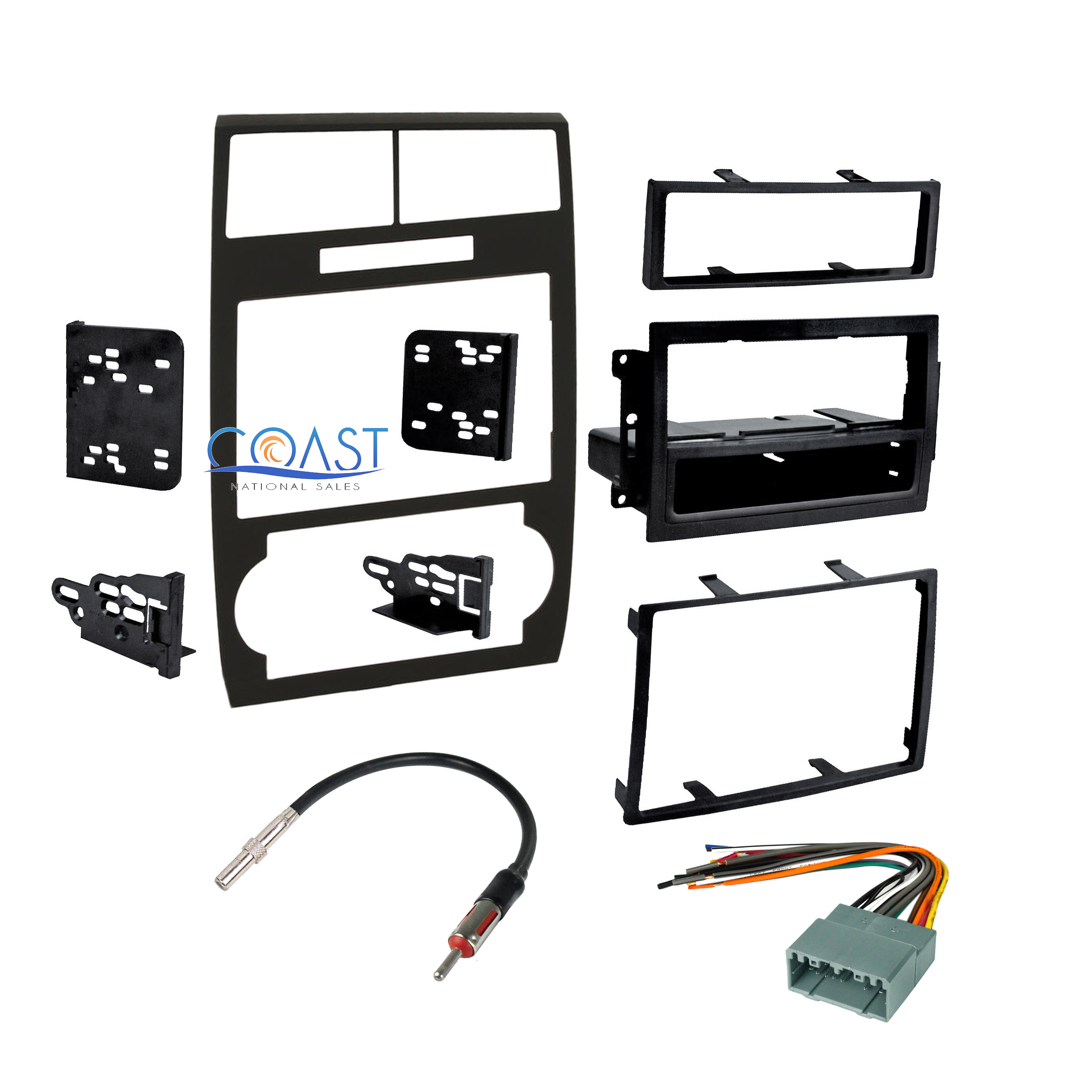 Stereo Double Din Dash Kit Harness Antenna For 2005