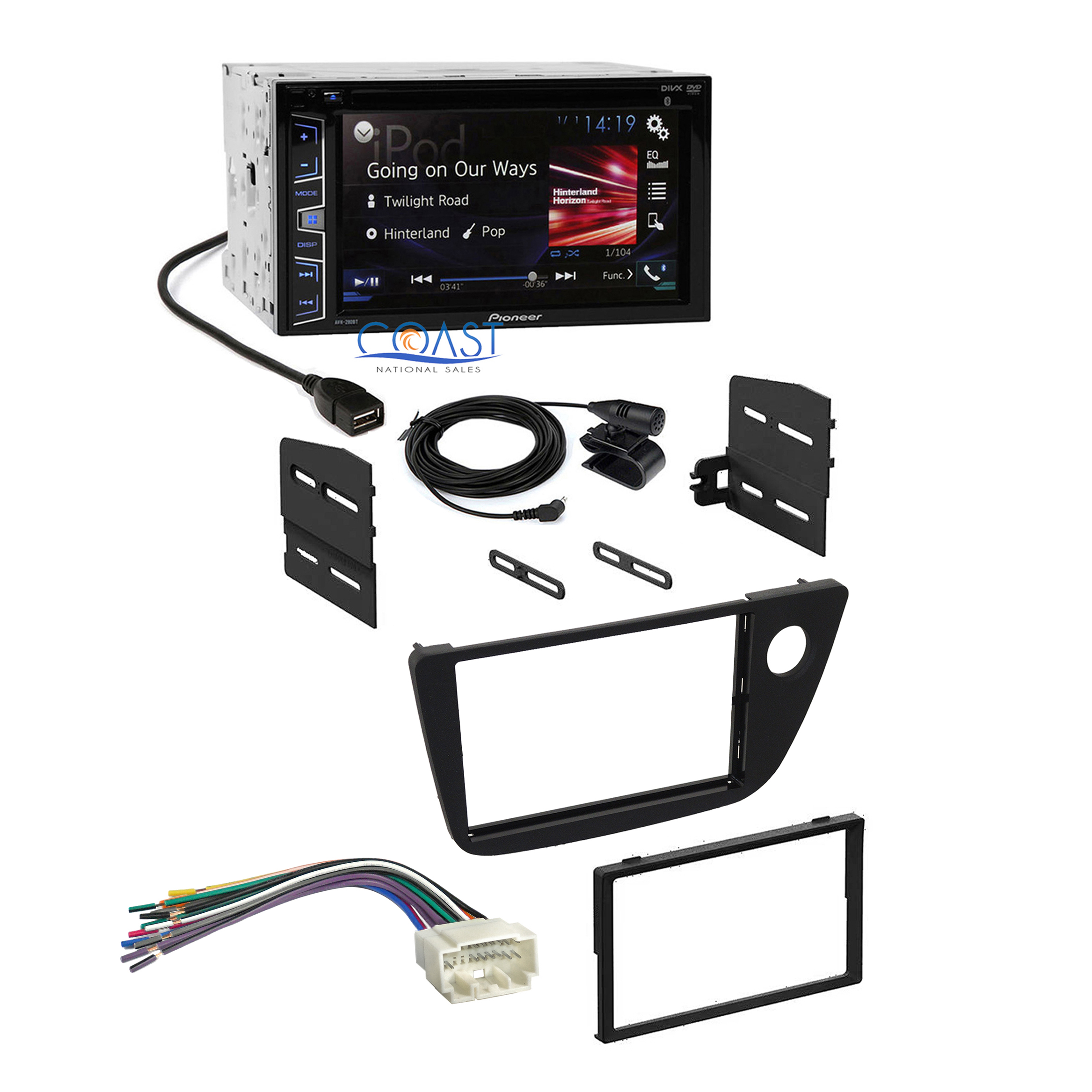 details about pioneer 2016 car radio stereo 2-din dash kit wire harness for  2002-06 acura rsx