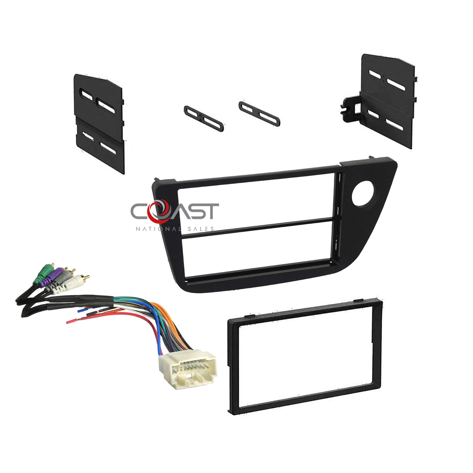 Single Double DIN Stereo Dash Kit + Amplifier Harness For