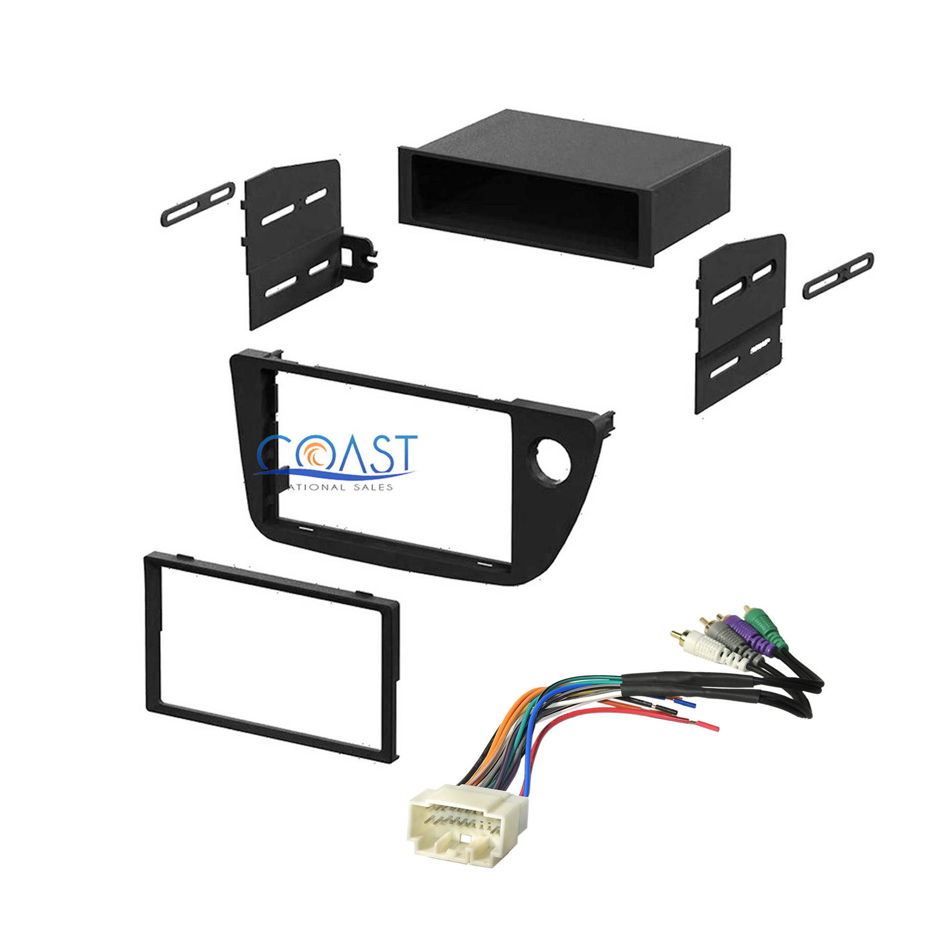 Single Double DIN Radio Dash Kit + Integration Harness For