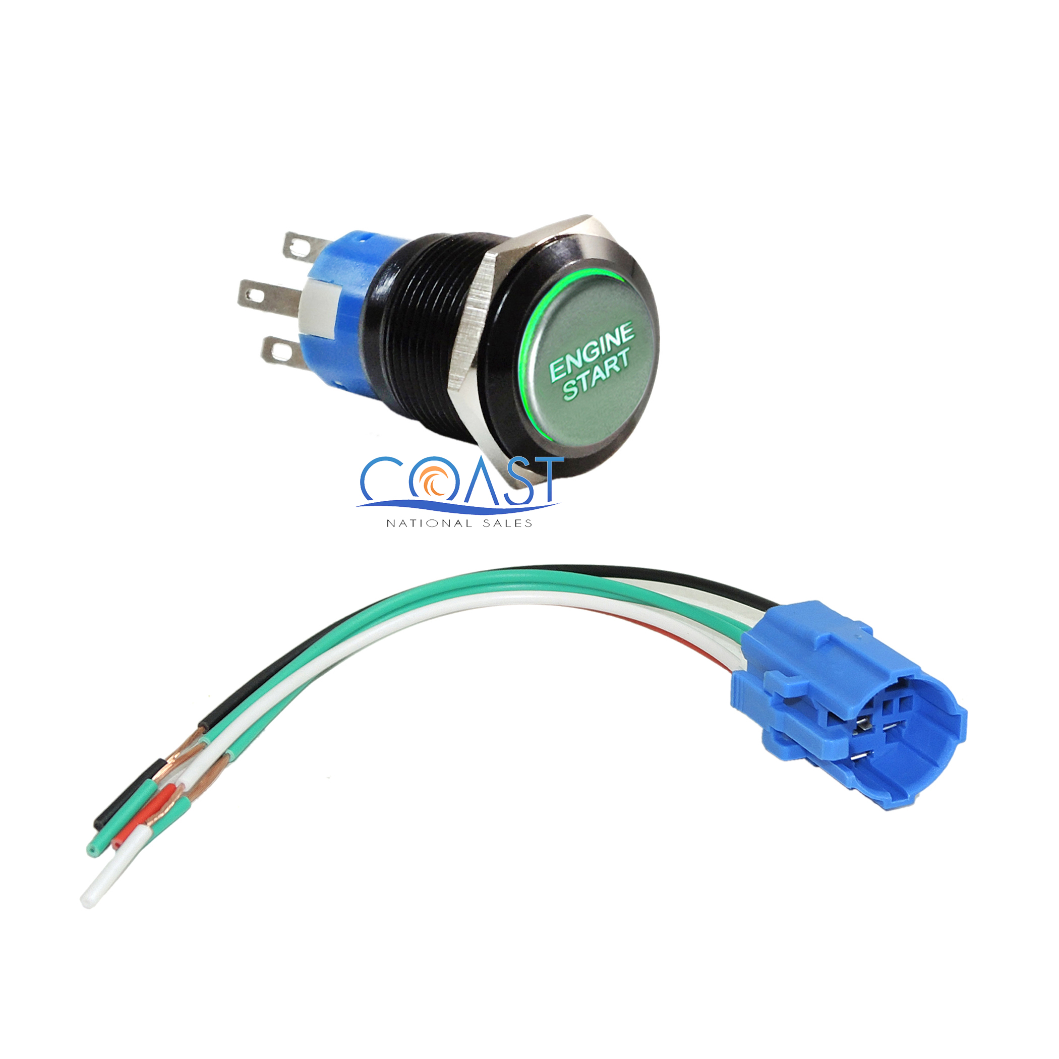 Durable 12V Red LED 19mm Green Momentary Engine Start Push Button Switch /& Plug