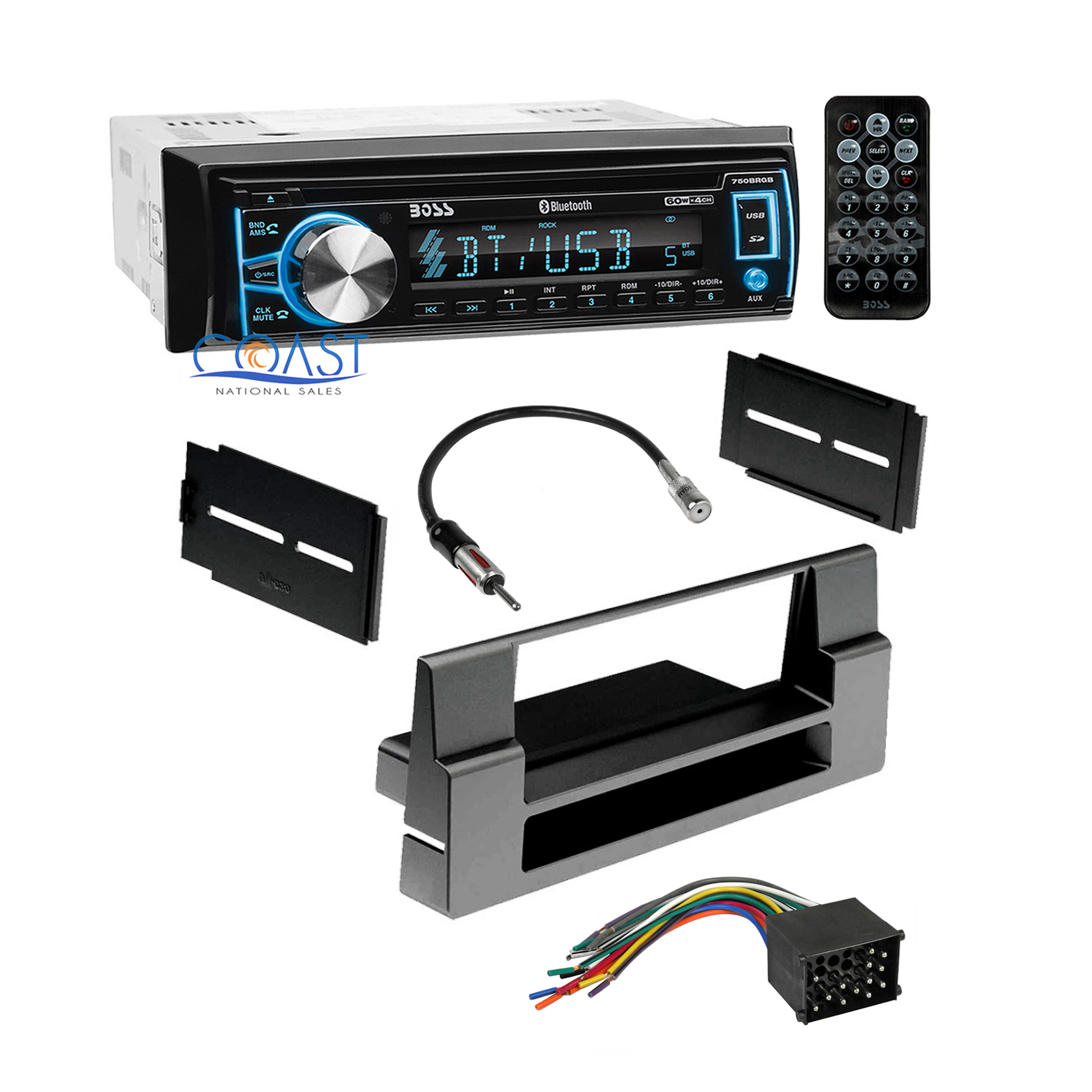 Boss Bluetooth Car Radio Stereo Dash Kit Wire Harness For 1997