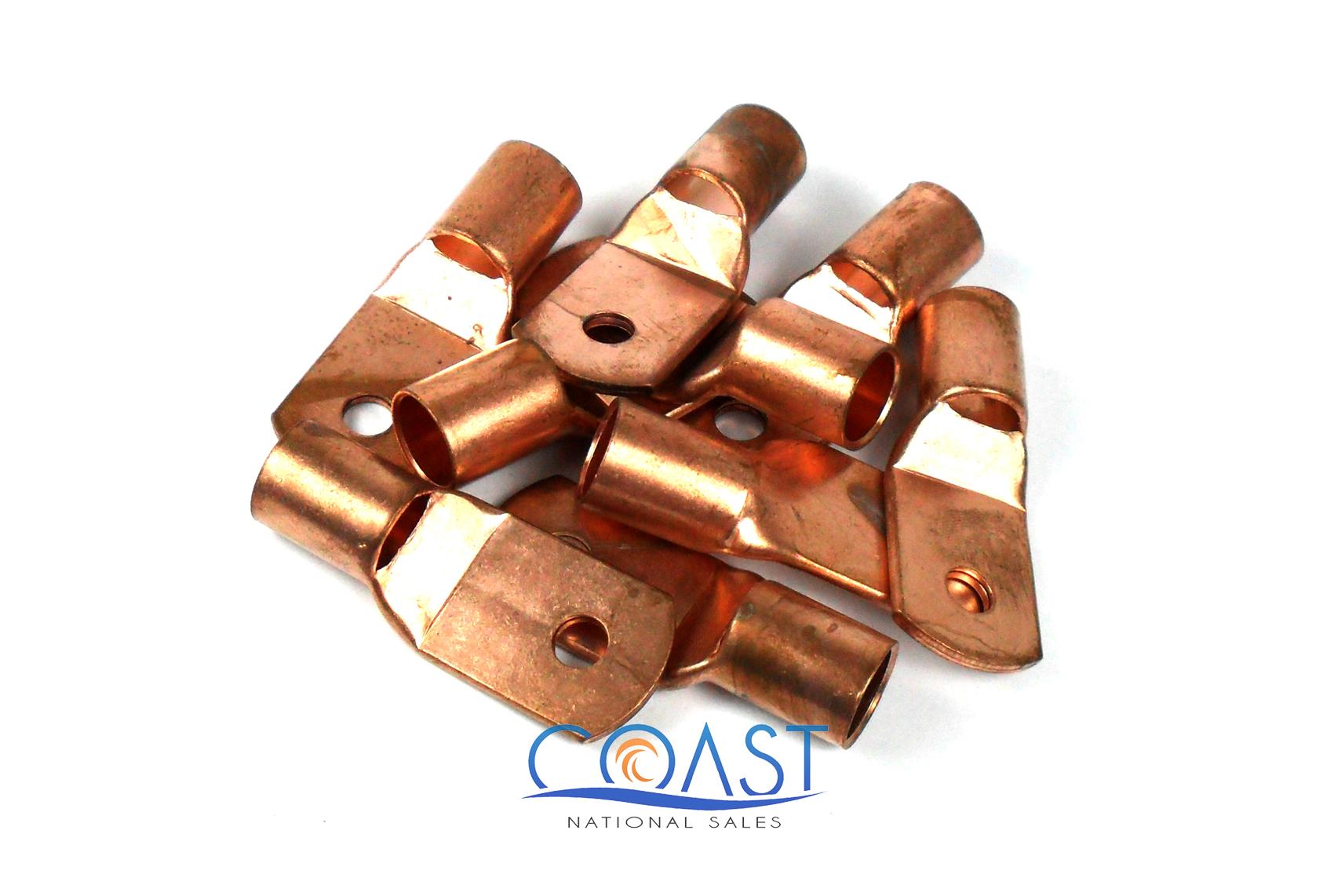 """2 PCS Car Copper Terminal Connectors 4 Gauge AWG 1//4/"""" Hole Ring CRT4.14P"""