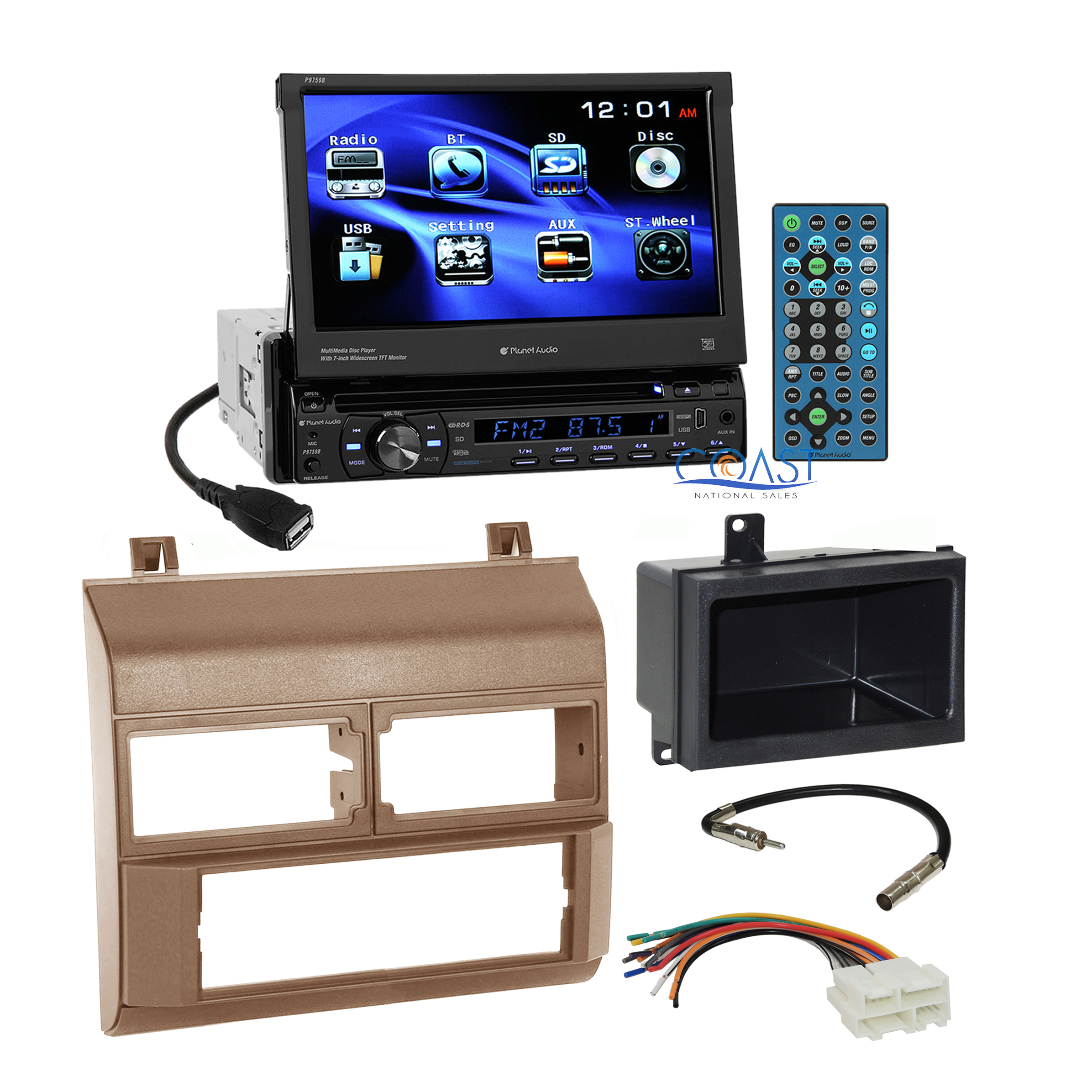details about planet audio car dvd stereo beige dash kit harness for 88-94  chevy gmc truck