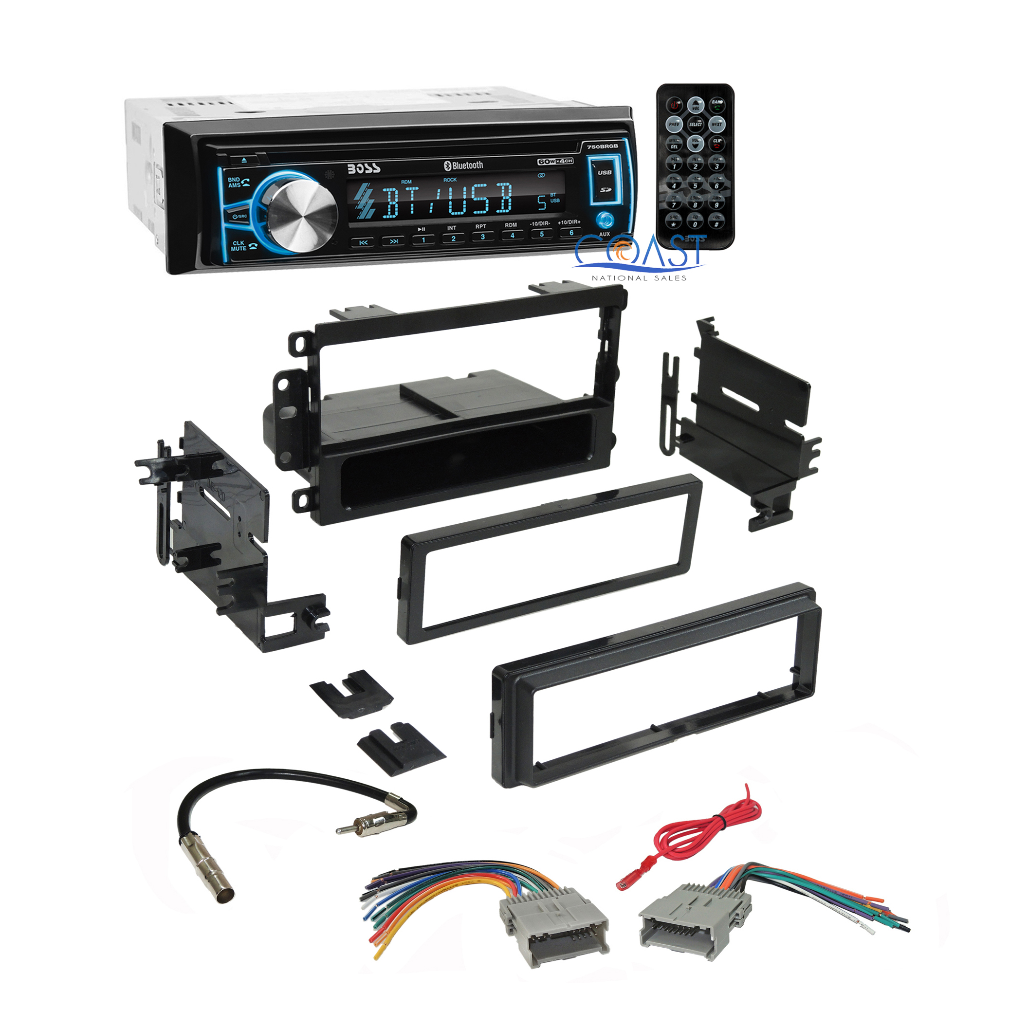 Boss Bluetooth Car Radio Stereo Dash Kit Harness For 92