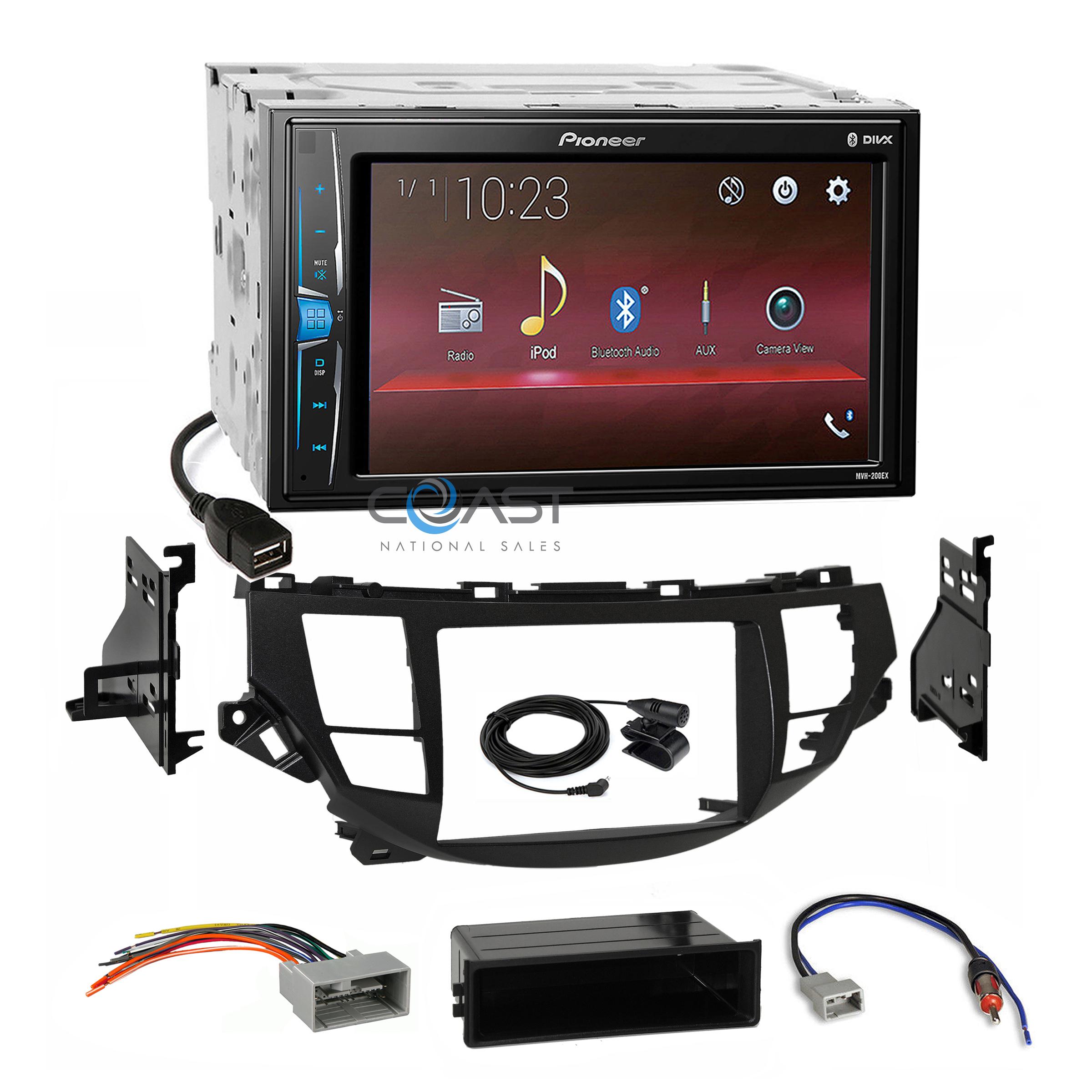 Pioneer 2018 USB Stereo Taupe Dash Kit Harness for 08-12 Honda Accord Crosstour