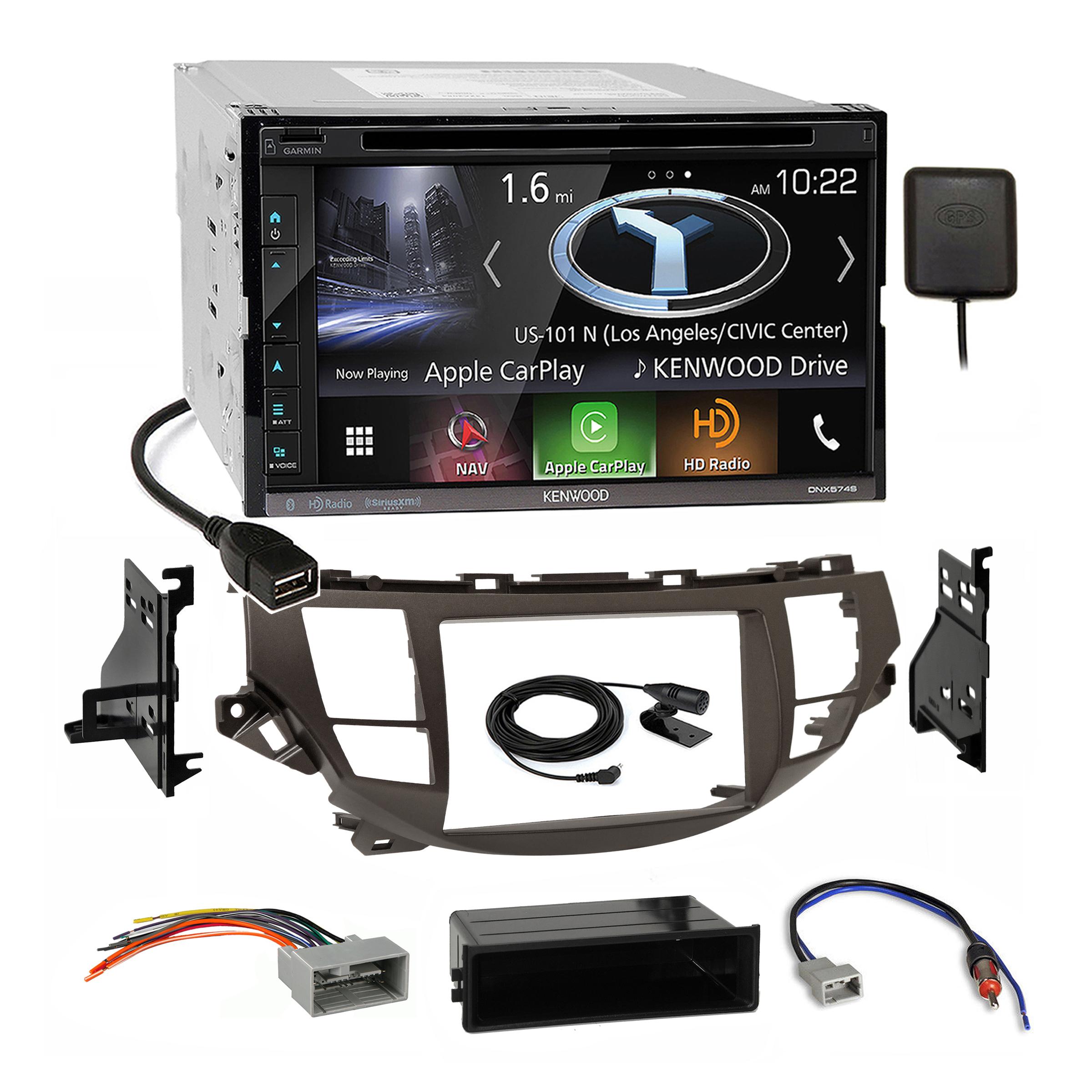 Kenwood Gps Carplay Stereo Taupe Dash Kit Harness For Honda Accord