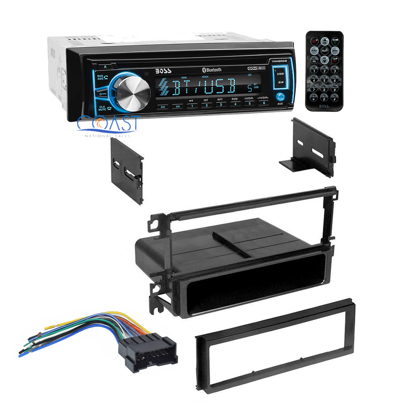 Boss Car Mp3 Bluetooth Radio Stereo Dash Kit Wire Harness For 2001