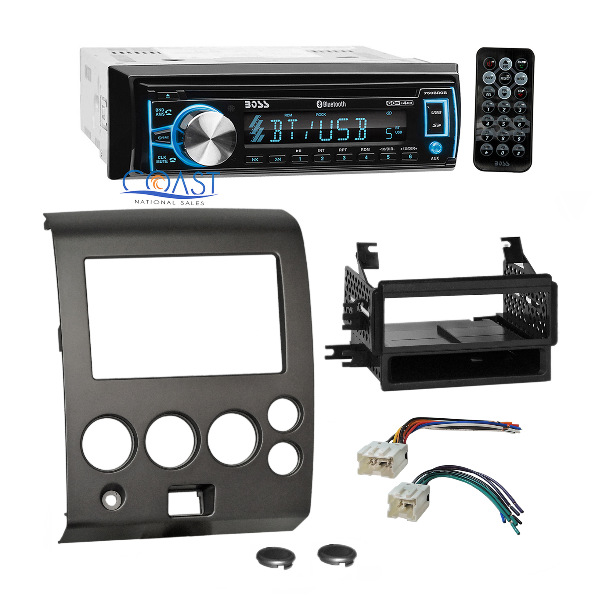 Boss Car Usb Bluetooth Stereo Dash Kit Wire Harness For 04  Nissan Armada Titan