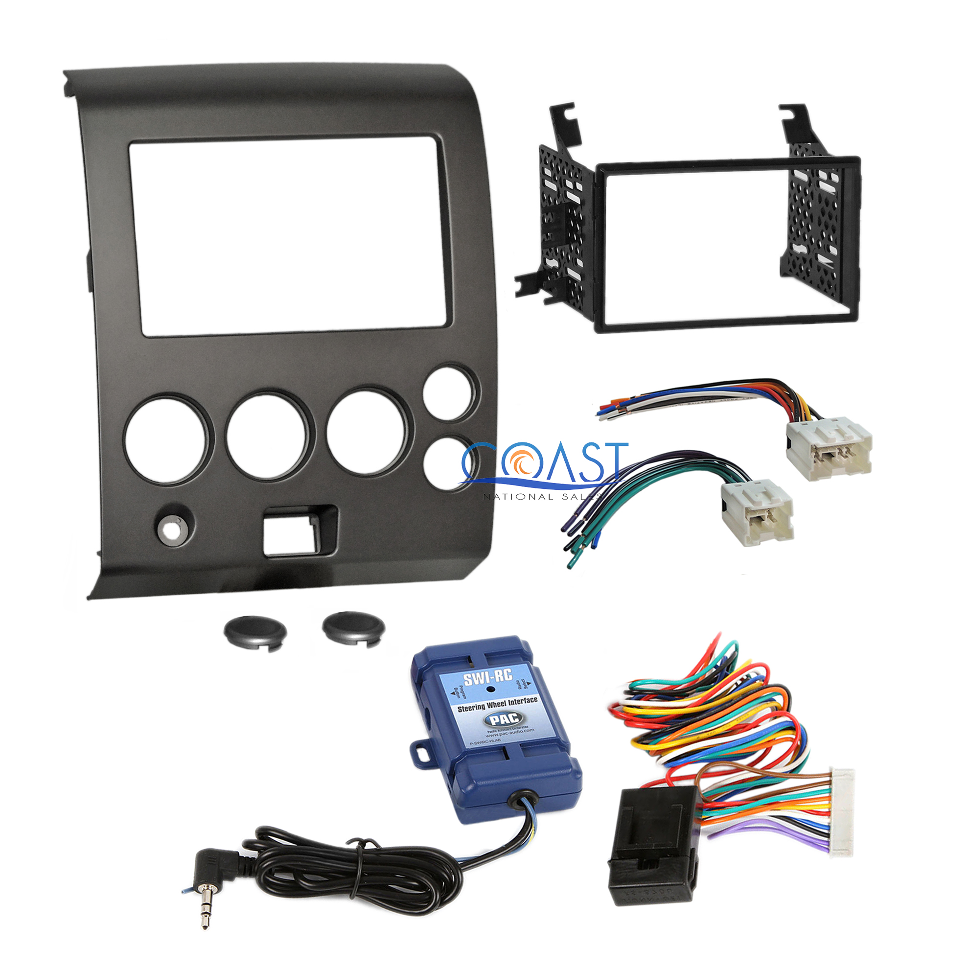 car radio stereo dash kit & steering wheel harness for 04+ nissan armada  titan | ebay  ebay