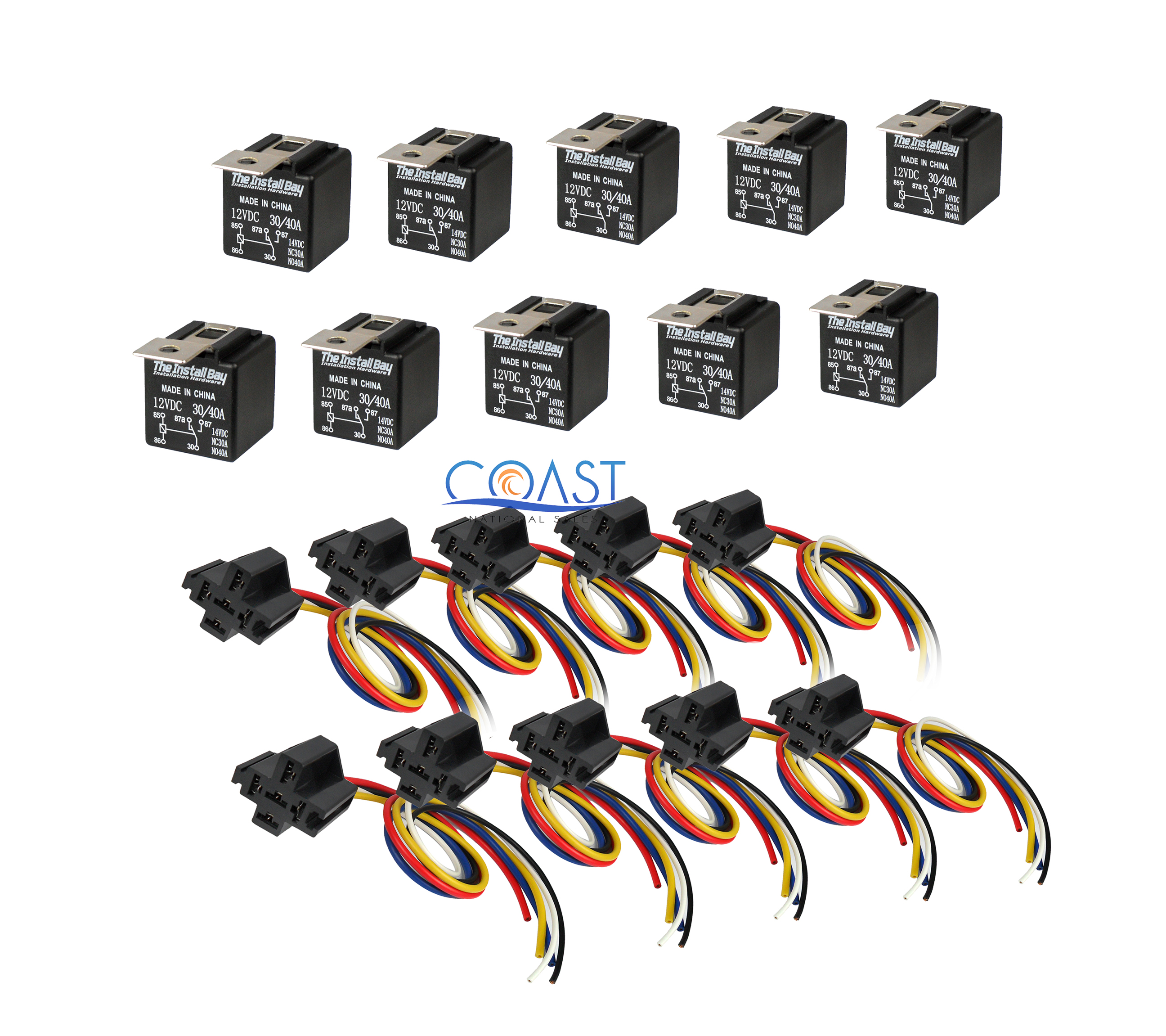 10x Car Audio Bosche Style Relay With Wire Harness Socket