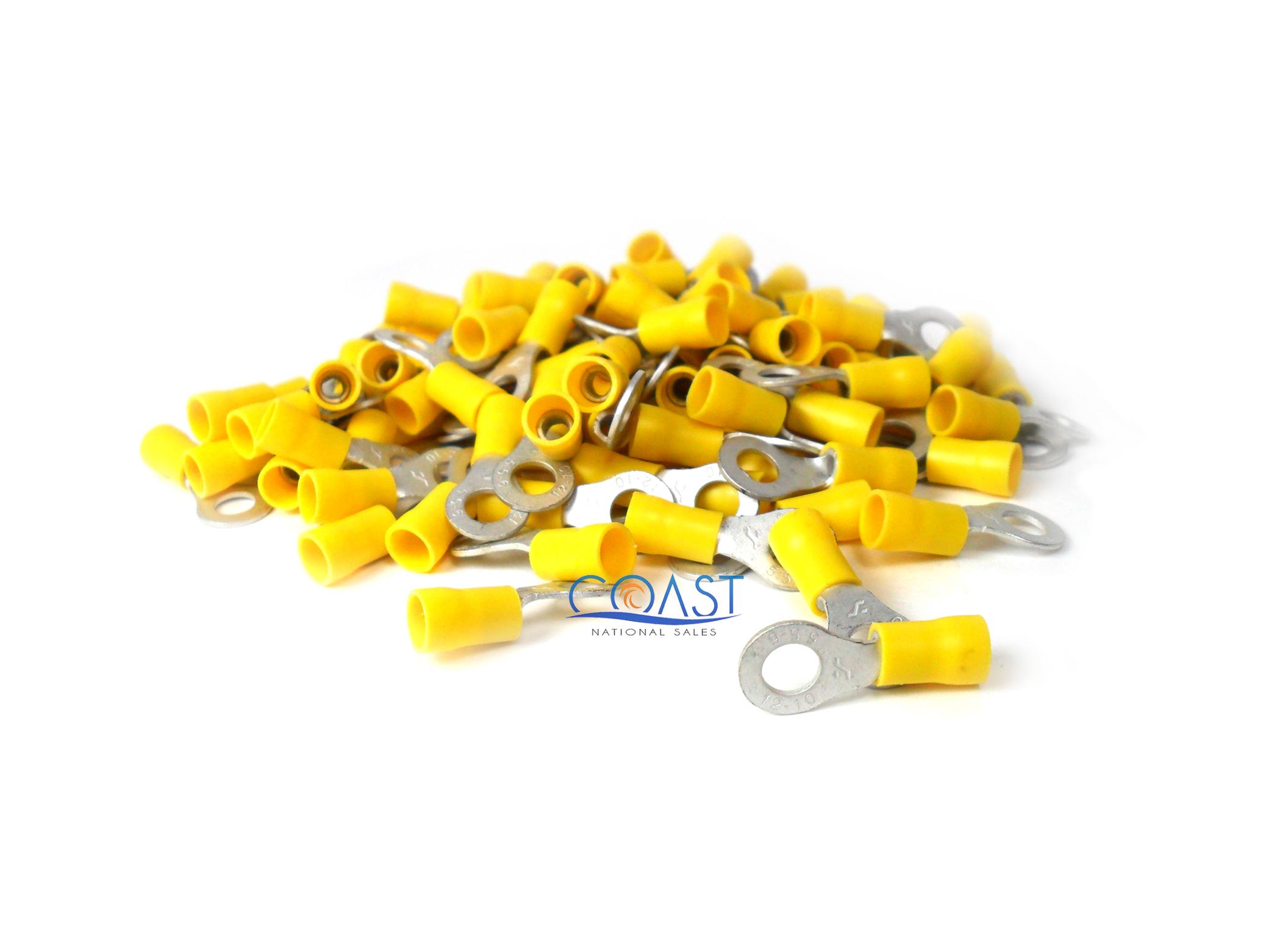 Crimp Ring Terminals 12-10 AWG Gauge # 1//4 Hole Yellow RTT14Y 100 PCS