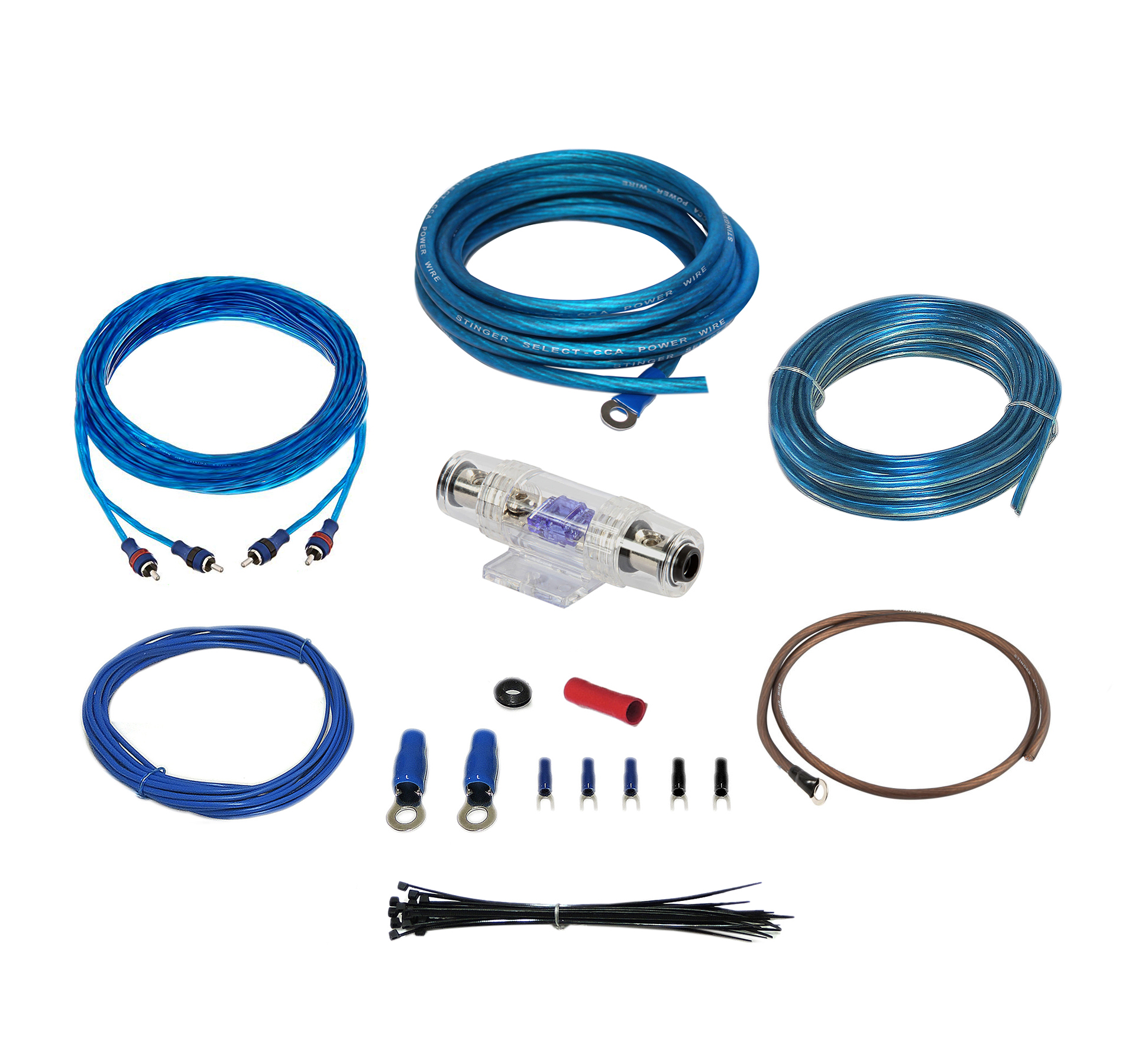Stinger Select SSK8 Amplifier Wiring Kit 8ga 17 ft CCA Cable 600 Watts