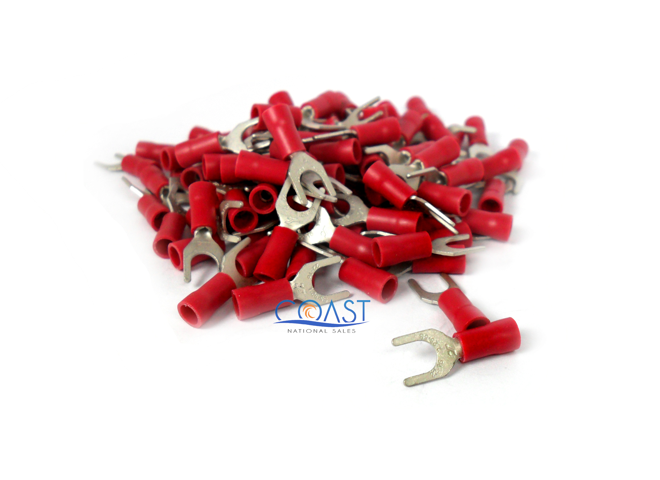 50 pc 22-18 #10 RED NYLON FORK SPADE TERMINAL ELECTRICAL CONNECTOR MADE IN USA